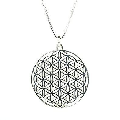 Amazon 925 sterling silver front and back flower of life 925 sterling silver front and back flower of life pattern pendant on 24 inch sterling silver mozeypictures Gallery