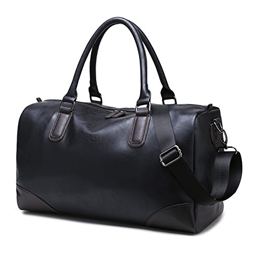BAOSHA HB-06 TOP PU Leder Unisex Reisetasche Handtaschetotes Weekender Duffel Bag Sporttasche Für Herren und Damen (Schwarz)