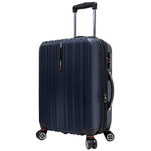 Travelers Choice 21 Inch - Traveler's Choice Tasmania 100% Polycarbonate Durable Hardshell Expandable 8-Wheel 21-inch Carry-On Spinner Luggage Suitcase, Navy