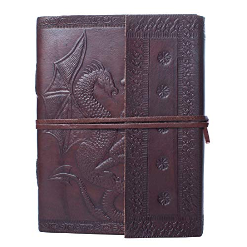 Dios Handmade Leather Journal Dark Brown Genuine Unique Double Dragon Antique Design Dairy for Writing Sketching Travelling, Ideal for Gifts (7 x 5.20 Inches)