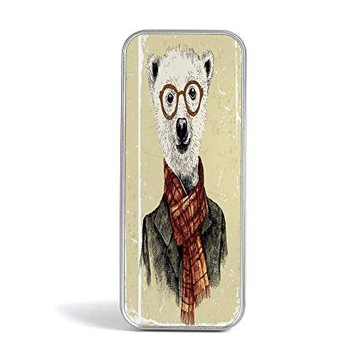 - Tin Pencil Case,Animal,Pen Case Organizer for School Office Home,Hipster Panda Bear Cigar Fox and Rabbit Glasses in Human Clothes Illustration