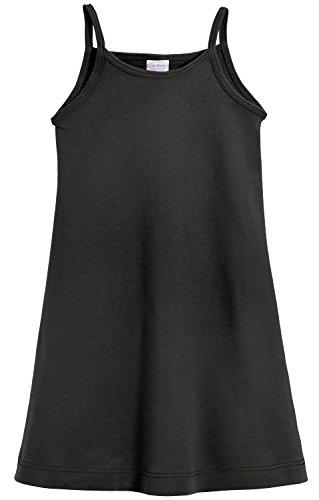 City Threads Big Girls' Summer Dress Cami Camisole Spaghetti Strap Maxi Slip No Sleeve Dress For Sensitive Skin or SPD Sensory Friendly, Black w/ Matching Stitch, 16