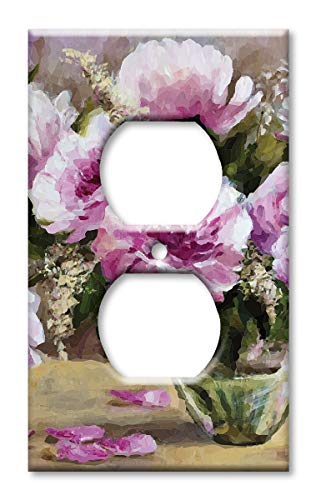 Purple Solid Faceplate Cover - Art Plates Brand Electrical Outlet Cover Wall/Switch Plate - Purple Flowers in a Vase