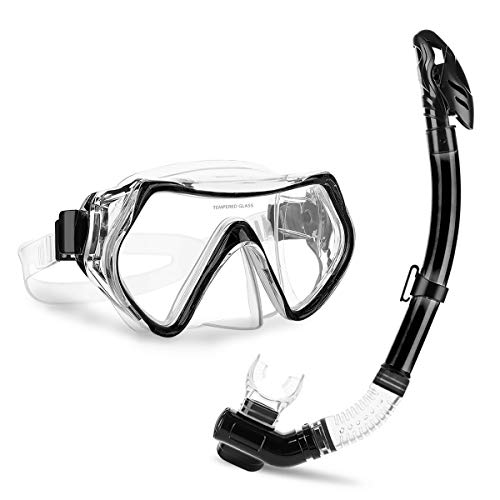 CAMTOA Snorkeling Set, Scuba Diving Snorkeling Freediving Mask for Adult,Anti-Fog Dry Breathing Tube Snorkeling Suit with Silicon Mouth Piece,Purge Valve and Anti-Splash Guard for Diving