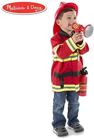 Melissa & Doug Fire Chief Role Play Costume Set (Pretend Play, Frustration-Free Packaging, Bright Red, 17.5
