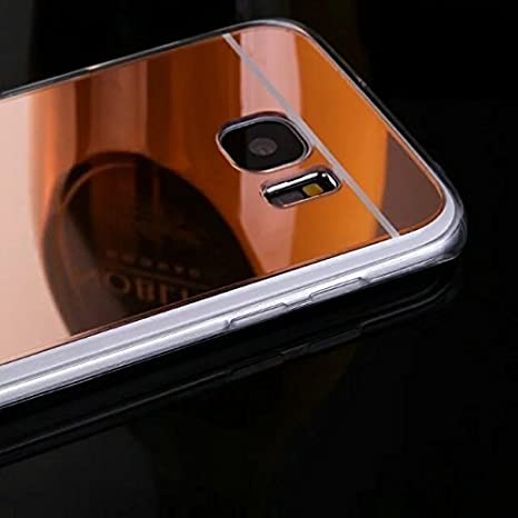 H/ülle Kompatibel mit Samsung Galaxy S6 Edge Plus Spiegel H/ülle Mirror Silikon Glitzer Cool Bling Kristall Strass Diamant H/ülle TPU Soft Flex Hybrid Case Cover Etui H/ülle Galaxy S6 Edge Plus,Rose