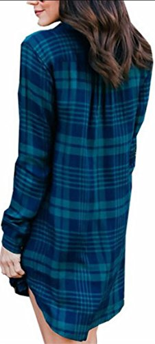 Plaid Jaycargogo Hem Shirt Irregular Pleated Blue Dress Casual Long Women Dress Sleeve arwxI4Zr