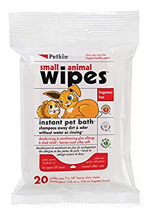 Petkin - Toallitas para la limpieza instantánea de mascotas de pequeño tamañ