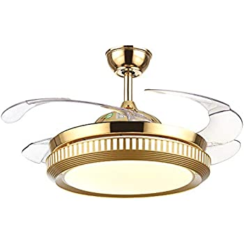 Tiptonlight gold retractable ceiling fan 36 inch with - Bedroom ceiling fans with remote control ...