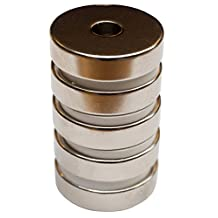 Rare Earth Neodymium N45 Magnets 32mm x 8mm with Nickel Coating and Round Base with Countersunk Hole for #10 Screw/Bolt. A Pack of 5 Super Strong Magnets