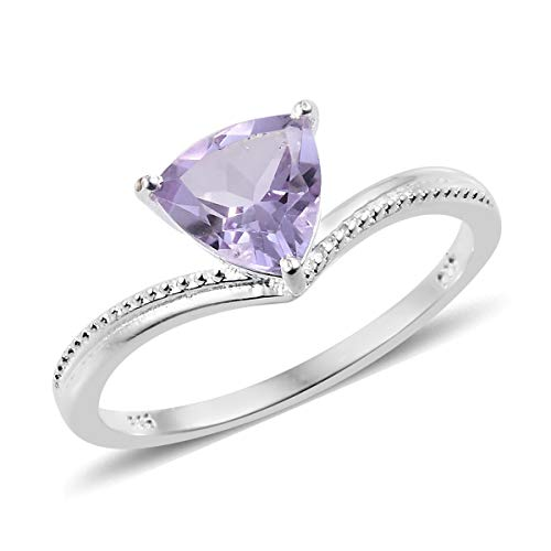 (Solitaire Ring 925 Sterling Silver Trillion Pink Amethyst Gift Jewelry for Women Size 6 Cttw 1.3)