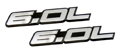 2 x (pair/Set) 6.0L Liter in SILVER on BLACK Highly Polished Aluminum Car Truck Engine Swap Nameplate Badge Logo Emblem for Pontiac GTO LS2 G8 L76 GMC Yukon Sierra Pick Up Chevy Tahoe Suburban Truck GMC Vortec V8 Ford Excursion F250 Diesel F350 Fits other Vehicles