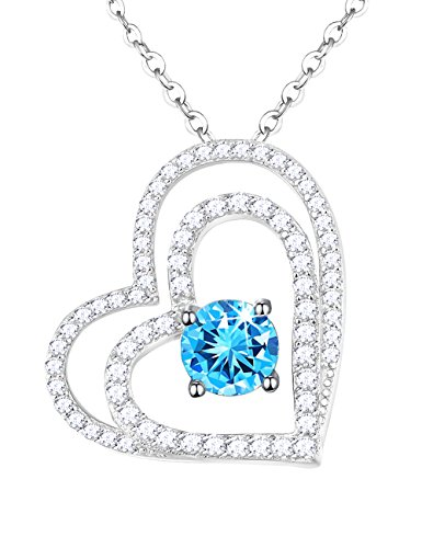 Double Heart Pendant Jewelry (Mothers Day Gift Sky Blue Topaz Double Love Hearts Pendant Necklace Fine Jewelry Birthday Anniversary Gift for Her Women for Girlfriend Wife Sterling Silver with 20
