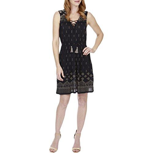- Lucky Brand Women's Beaded Tank Dress Navy Multi Large