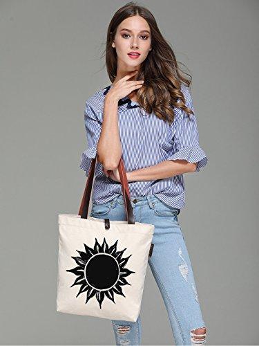 So'each Women's Ink Sun Flower Graphic Canvas Handbag Tote Shoulder Bag