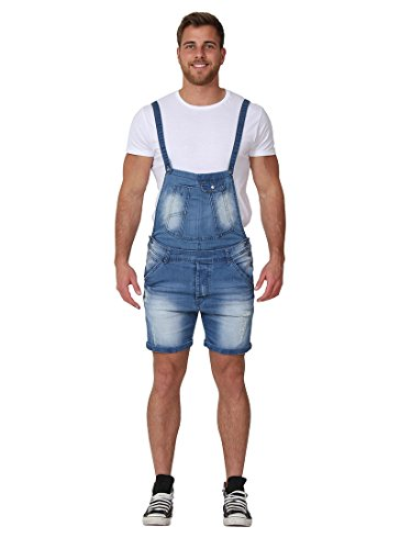 Men's Denim Overall Shorts Detachable Bib Dungaree Shorts Shortalls