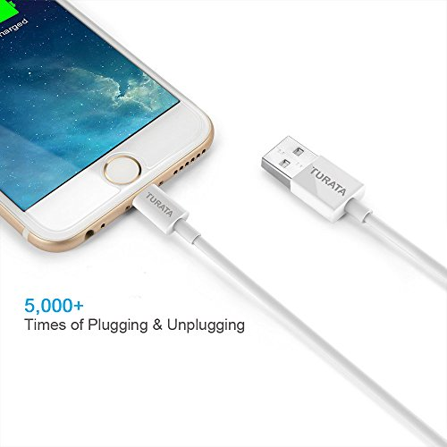 5 Packs iPhone Charger Cables TURATA 5 Packs 1ft Cable Lightning USB Cable Sturdy Charging Cord Connector Powerline for iPhone 7 7 Plus 5 5S 5C 6 6S iPad minuscule Air Pro iPod reach great for power Bank Data Cables