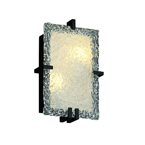 Justice Design Group GLA-5551-LACE-NCKL Veneto Luce Collection ADA Clips Rectangle Wall - Clips Glass Veneto