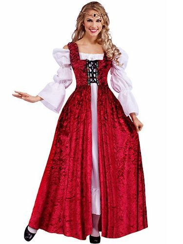 Forum Novelties Women's Medieval Lace-Up Costume Gown, Red, Standard ()