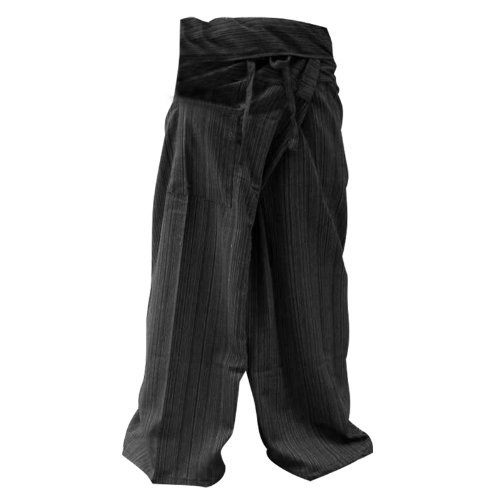 LannaPremium Authentic 100% Cotton Drill Gangaeng Thai Fisherman Pants Yoga Trousers Plus Size Cotton, 2X-Large, Drill Charcoal