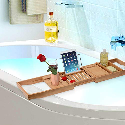 Domax Bathtub Caddy with Wine Glass Holder Adjustable Book Stand Extendable Non Slip Sides Bamboo Bath Tray by Domax (Image #3)
