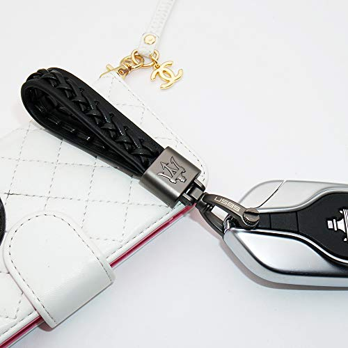 US85 Direct for Maserati Sport Black Logo Emblem Key Chain Key Ring Alloy Hand Made BV Style Leather Gift Decoration Accessories (Black) (Leather Ring Key Auto)