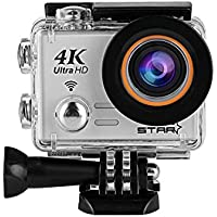 Sports Action Camera 4K Waterproof, [Wifi Sports Camera] Full HD 4K 60fps 30fps 1080p Video Camera 12MP Photo and 170 Wide Angle 6G Lens Underwater Remote Digital Camera Accessories Kit (Silver)