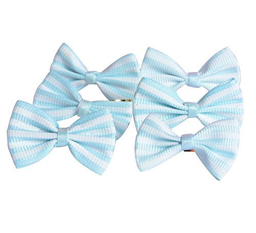 Funcoo 100 pcs Lovely Cute Bow Twist Tie for Bakery Candy Lollipop Cello Bag (Sky Blue) by Funcoo