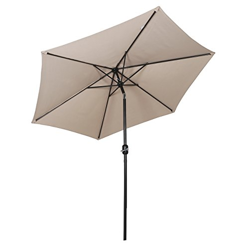 sekey parasol inclinable pour patio jardin balcon piscine plage rond sunscreen uv50 taupe. Black Bedroom Furniture Sets. Home Design Ideas