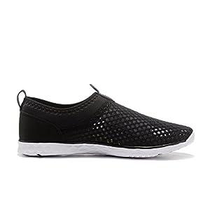 Kenswalk Men's Aqua Water Shoes Lightweight Beach Swim Pool Walking Sneakers (US 10, Black)