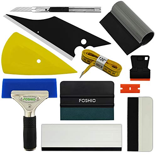 FOSHIO Car Vinyl Wrapping Tools Auto Film Squeegee Installation Kit Include Full Kind of Squeegees, Magnetic Soft Tape Measure, Razor Scraper, ()
