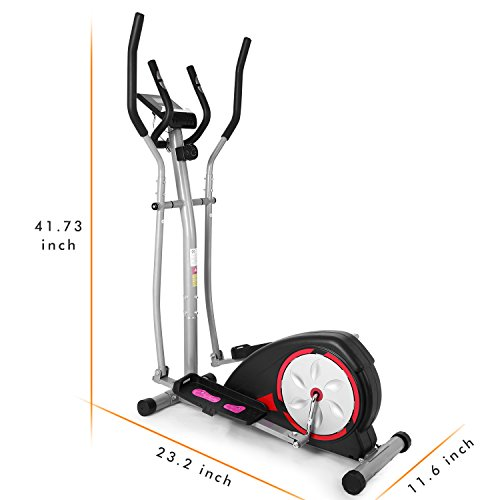Fast 88 Elliptical Machine Fitness Workout Cardio Training Machine, Magnetic Control Mute Elliptical Trainer with LCD Monitor (Silver Red)