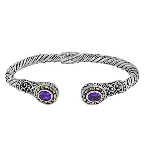 (Robert Manse Designs Bali Romanse African Amethyst & Sterling Silver Cable Cuff with 18K Gold Accents)