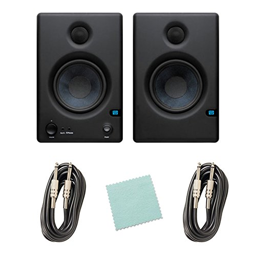 PreSonus Eris 4.5 High Definition 2-Way 4.5-Inch Near-field Studio Monitors Bundle with Two Instrument Cables, and Polishing Cloth - (2 Way Near Field Monitor)