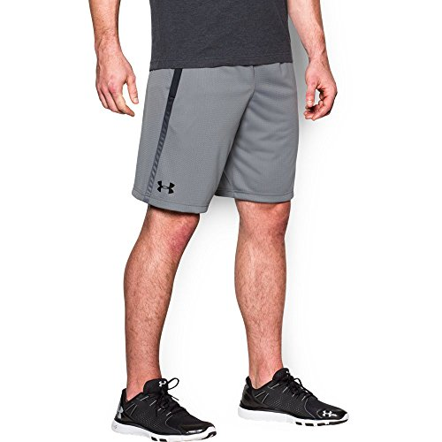 Mesh Gym Shorts - Under Armour Men's Tech Mesh Shorts, Steel (035)/Black, Large
