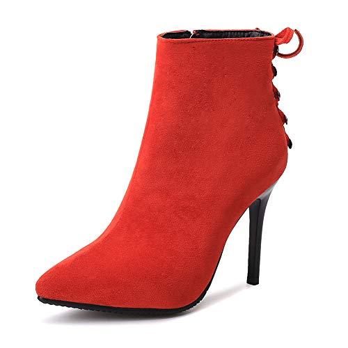 Hoesczs Botas Al Altos Por Invierno Zapatos 2018 Without Fur Boda Red Punta Estrecha Comercio Mayor De Mujer Tacones Botines Thin gZxZr