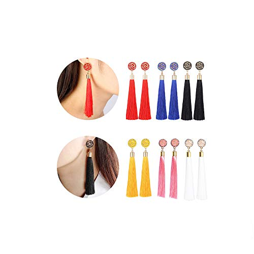 Charm Girls Long Tassel Drop Earrings Handmade Bohemia Tassel Earrings for Women