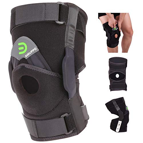 DISUPPO Hinged Knee Brace Support Women Men, Adjustable Open Patella Stabilizer for Sports Trauma, Sprains, Arthritis, ACL, Meniscus Tears, Ligament Injuries (Hinges Removable, M)