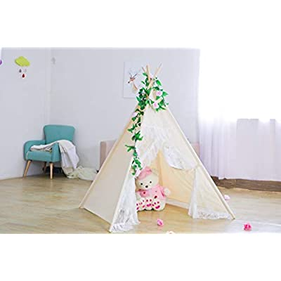 RONG FA Kids Teepee Tent Foldable Teepee Play Tent for Boys and Girls, Indoor/Outdoor Cotton Canvas Tent with Lace of High Transmittance(White) (LACE Door): Toys & Games