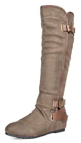 New Lady Womens Motorcycle Boot - DREAM PAIRS Women's New-Akris Khaki Knee High Hidden Wedge Winter Motorcycle Riding Boots Size 5.5 B(M) US
