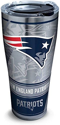 Tervis 1266665 NFL New England Patriots Edge Stainless Steel Tumbler with Clear and Black Hammer Lid 30oz, Silver