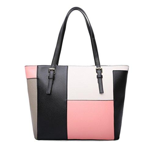 It All Patch Shoulder Bag Handbag, Pink (Patchwork Shoulder Tote)