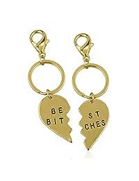 Lux Accessories Best Bitches BFF Best Friends Forever Matching Keychain Set