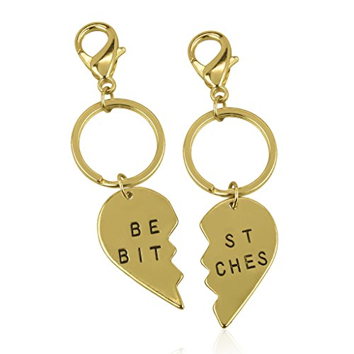 Lux Accessories Best Bitches BFF Best Friends Forever Matching Keychain Gold Set