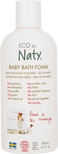 Eco by Naty, Baby Badeschaum, Ökologische pflanzliche Inhaltsstoffe mit 0% Parfüm, Hypoallergen und dermatologisch getestet, 200 ml Flasche