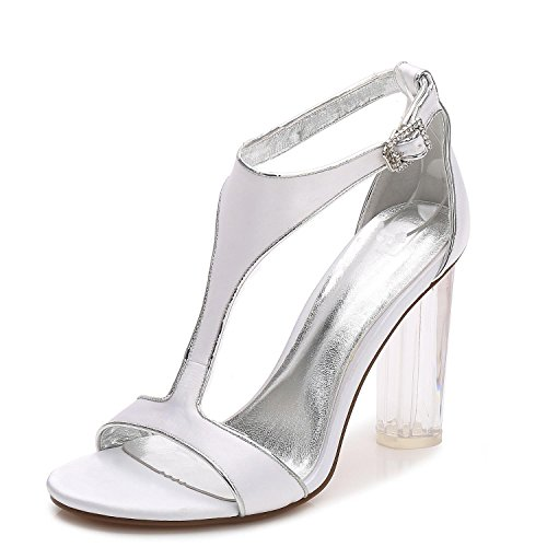 L Boda Con Toe White Jane Shoes Heels Low 10 F2615 High Prom Cintas Peep Cristal Court Satén La Las Party Mujeres De yc Closed YrYqUz4