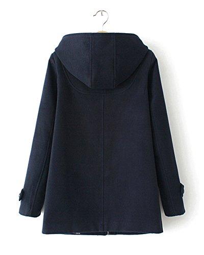 Capuche clair Et DianShao Marine Fermeture Outwear Manteau Chaud Femme Coat Bouton Trench Zxx5z7U