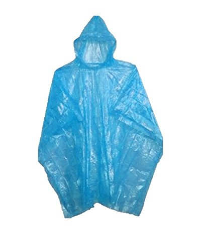 Emergency Disposable Rain Ponchos with attached hood. (10 Pack) - (Blue)