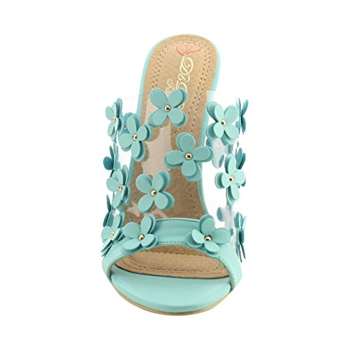DbDk AG92 Womens Mule Slip On Floral Stiletto Heels Dress Sandals Mint TKGfI