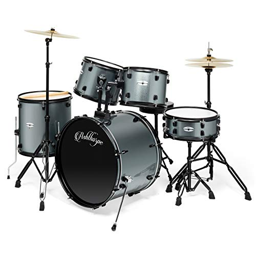 Ashthorpe 5-Piece Complete Full Size Adult Drum Set with Remo Batter Heads - Silver (Drum Set Student)